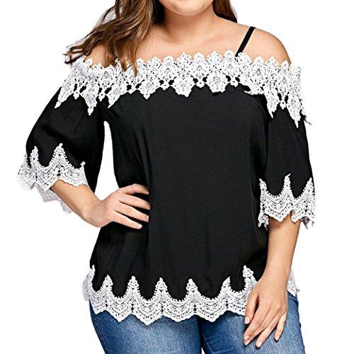MRULIC Damen Große Größe Frauen Schwarz Spitze Schulterfrei T-Shirt Kurzarm  Casual Strap Tops Bluse 53609ac0c8